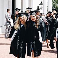 Students in graduation garments
