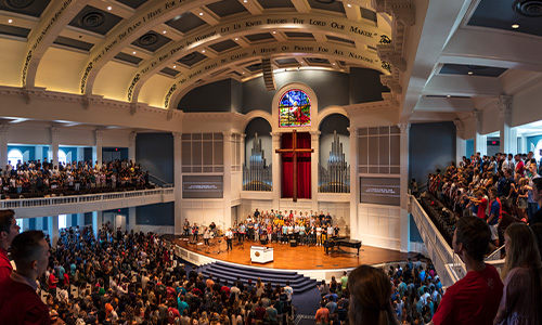 students gather in chapel