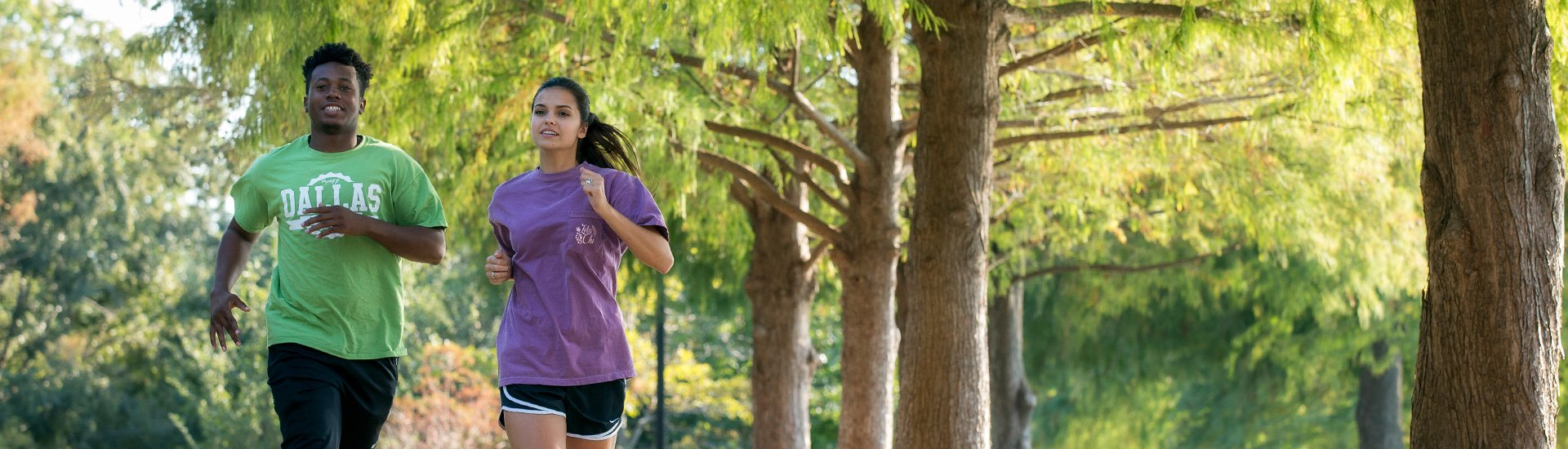 DBU Students running on fitness trail on campus picture