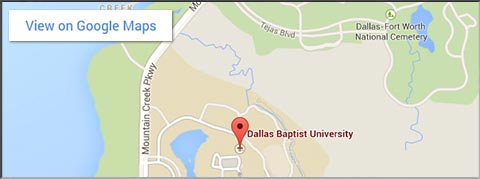 DBU Main Campus Google Map for mobile devices that have a width of approx. 480