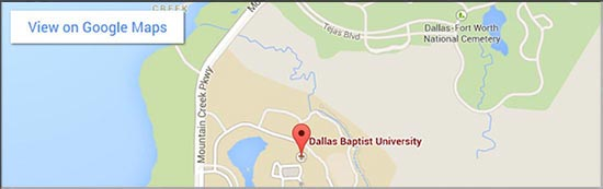 DBU Main Campus Google Map for mobile devices that have a width of approx. 550