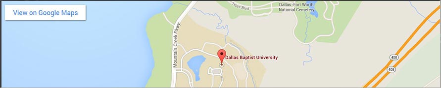 DBU Main Campus Google Map for mobile devices that have a width of approx. 960