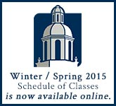 Winter / Spring 2015 Schedule of Classes is now available online.