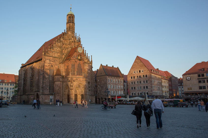 The sun setting over the Nuremberg town square, Nuremberg, Germany