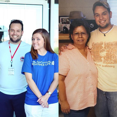 David Reyes with his wife (left) and his mother (right)