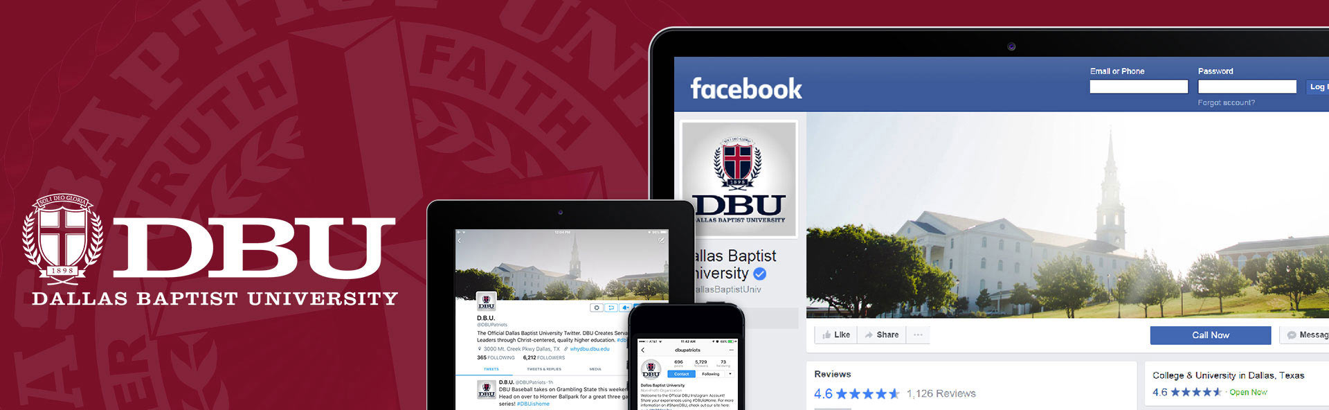 Official DBU Social Media Accounts Banner